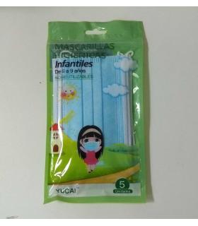 mascarillas higienicas infantiles 6-9 años 5 unidades azules